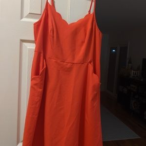 Neon orange, open back with two snap closure dress